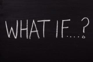 The phrase What If written on a blackboard