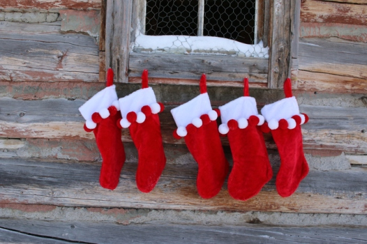 Five Red Christmas Stockings