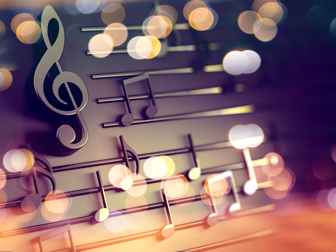 Music background design.Musical writing and Christmas carol